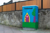 Collaboration with Our Lady of Lourdes NS where the pupils took part in a competition organised by Cllr. Kieran McCarthy to design artwork for a box in the Mad About Cork style which we then painted in their locality.