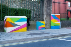 Boxes painted by the on Grattan St